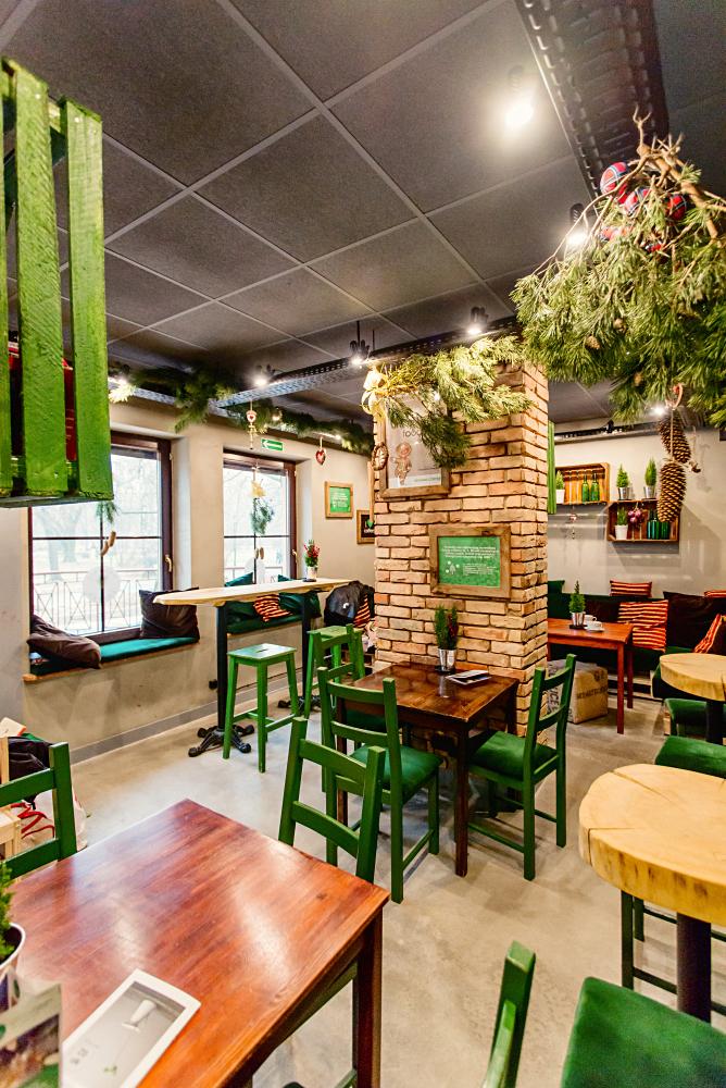 wnętrza kawiarni Organic Coffee w Krakowie
