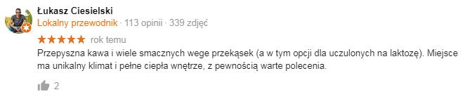 opinia Łukasza o kawiarni organic coffee Piękna 19 Warszawa Śródmieście blisko Centrum
